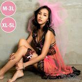 【獨創中大尺碼】性感芭比 浪漫微透性感蕾絲三件組(粉色 / M-5L) MyDoll