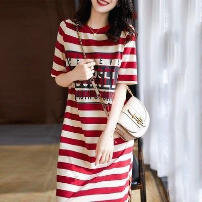 【藍色巴黎】 韓國時尚條紋字母衣擺開剎叉短袖洋裝/連身裙 【28889】