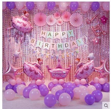 女孩寶寶周歲生日快樂趴體兒童成人卡通氣球主題派對場景布置裝飾 城市科技DF