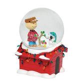聖誕禮物《Enesco精品雕塑》SNOOPY與查理布朗聖誕狗屋音樂水晶球塑像/雪球_EN96875