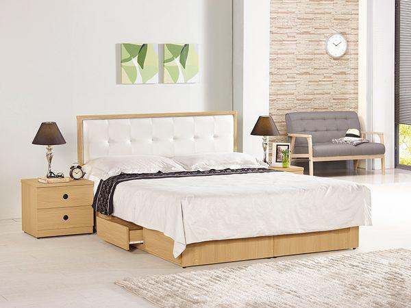【森可家居】達拉斯5尺床片型雙人床 8CM643-3 雙人床架 原木色 北歐風 抽屜式床底