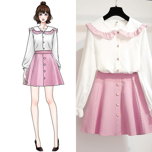 VK旗艦店 韓系拼色木耳邊雪紡衫單排扣裙套裝長袖裙裝