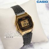 CASIO卡西歐 LA680WEGB-1A 電子錶款 復古方型金色錶殼 黑 不鏽鋼錶帶 女錶 LA680WEGB-1ADF