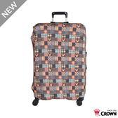 皇冠 CROWN Disney系列 行李箱保護套L 25~29吋-復古棕米奇