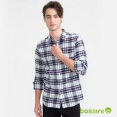 格紋法蘭絨襯衫01藍白格紋-bossini男裝
