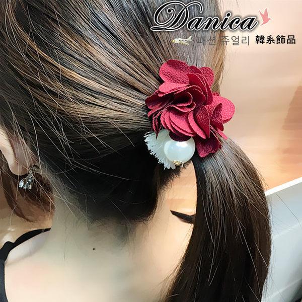 髮飾 現貨 韓國熱賣氣質甜美手作遇見花朵珍珠流蘇髮束(4色) S7783 單個價Danica 韓系飾品 韓國連線