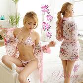 和服睡衣 花誘甜心!愛戀飛舞和服式浴袍三件組 情趣睡衣 內睡衣 女衣