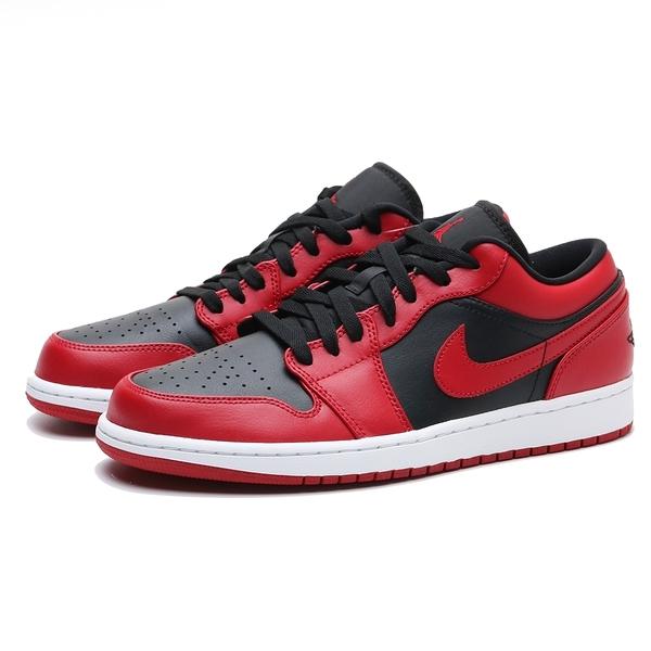 NIKE 籃球鞋 AIR JORDAN 1 LOW REVERSE BRED 紅黑 反轉 禁穿 AJ1 1代 低筒 男 (布魯克林) 553558-606