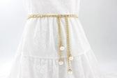 腰鍊女款細珍珠裝飾百搭配連衣裙子腰帶