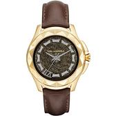 KARL LAGERFELD KARL 7系列搖滾星錐三針腕錶-金框x咖啡帶
