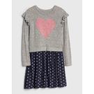 Gap女童甜美荷葉邊飾拼接連衣裙521621-麻灰色