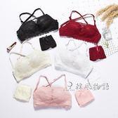 夏天胸罩日系蕾絲少女文胸小胸無鋼圈裹胸高中大學生內衣套裝「韓風物語」