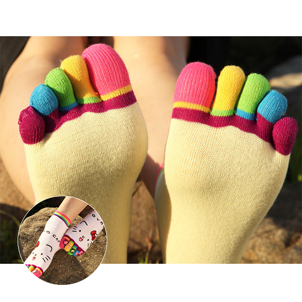 襪子 日系 呆萌表情卡通女用五指襪 繽紛色彩 多色可選 棉質舒適好穿 【FSW092 】123ok