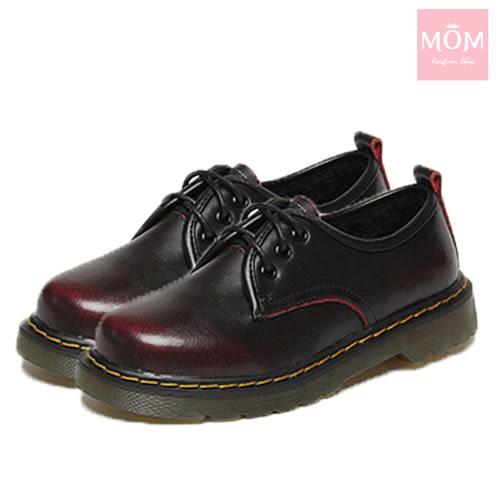 歐美經典款3孔綁帶真皮馬丁休閒牛津鞋 馬丁靴 擦紅 *MOM*