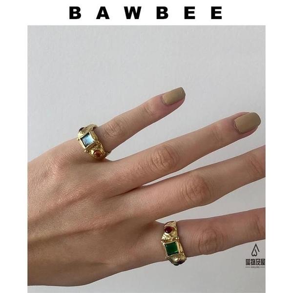 戒指女多色百搭復古鑲嵌鍍金寶石【愛物及屋】