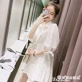 襯衫裙 2021夏裝新款韓版心機設計感白色襯衫上衣女寬鬆學生中長款襯衣裙 愛麗絲