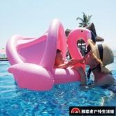 遮陽防曬帶蓬坐圈嬰幼兒男女孩游泳圈嬰兒童【探索者戶外生活館】