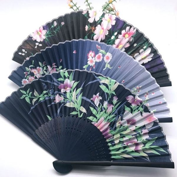 【SG290】絹扇 不挑色 日本折扇和風櫻花仿真絲折疊女士扇配流蘇2018新款
