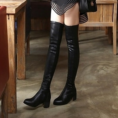 長靴-時尚性感瘦腿低跟舒適真皮女過膝靴4色71ab39【巴黎精品】