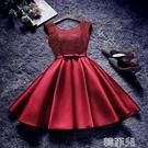 晚禮服 新款敬酒服新娘紅色顯瘦短款晚禮服結婚回門連身裙派對小禮服 韓菲兒