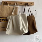 大容量單肩包女 韓版大容量慵懶風手拎單肩包環保購物袋簡約文藝帆布包書包女 快速出貨