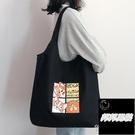 黑色女單肩包斜挎包包手提布袋大容量大學生上課托特包日系帆布包品牌【邦邦男裝】