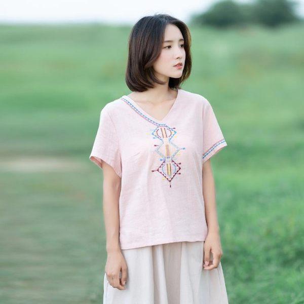 文藝小清新棉麻刺繡花T恤V領短袖