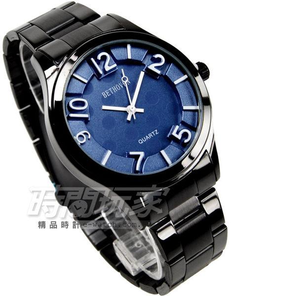 BETHOVEN 水玉點點 時尚數字時刻腕錶 藍x黑 IP黑電鍍 BE2022IP藍 防水手錶 女錶 鋼錶帶款 數字錶
