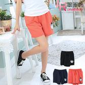 短褲--翹臀啵棒效果-草莓妹妹貼布鬆緊褲頭短褲(橘.黑.藍2L-4L)-R121眼圈熊中大尺碼