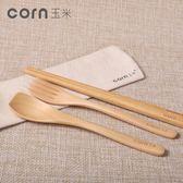 聖誕狂歡 玉米兒童勺子叉子筷子套裝木質寶寶筷創意三件套學生便攜餐具