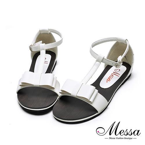 【Messa米莎專櫃女鞋】MIT繫踝蝴蝶結造型內真皮平底涼鞋-白色
