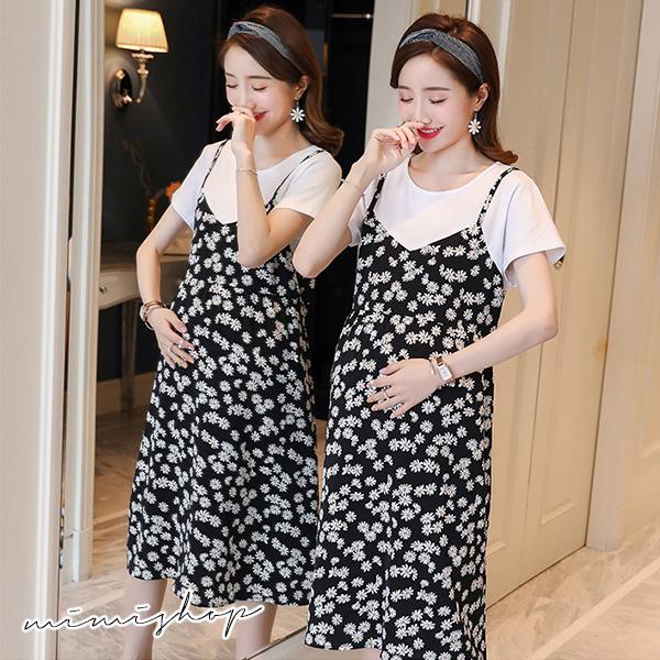 孕婦裝 MIMI別走【P521103】清新小雛菊 假兩件棉拚雪紡連身裙 孕婦洋裝