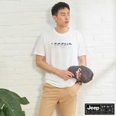 【JEEP】男裝 立體圖騰吸濕排汗短袖TEE-白