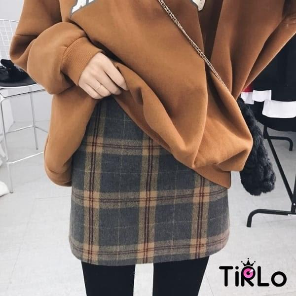 短裙 -Tirlo-翹臀毛呢格紋小短裙-一色/SM(現+追加預計5-7工作天出貨)