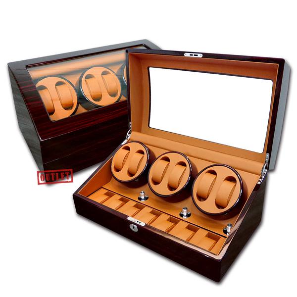 展示福利品9折↘ 機械錶上鍊盒 3旋6入錶座轉動+7入收藏 鋼琴烤漆 - 黃棕x紅褐木紋 #R367-EBYB-defect