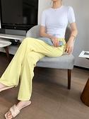 雪紡長褲 冰絲闊腿褲女夏季薄款高腰垂感顯瘦百搭雪紡褲子寬鬆直筒拖地長褲 晶彩
