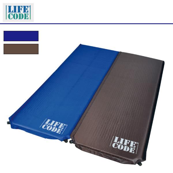 【LIFECODE】《雙面可用》自動充氣睡墊-厚5cm(寶藍配咖啡色) LC611B