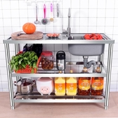 水槽 304不銹鋼水槽單槽帶平台落地支架家用商用廚房加厚洗碗池洗菜盆 1995生活雜貨NMS