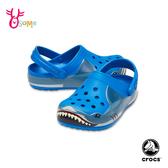 Crocs卡駱馳 洞洞鞋 中小童 趣味學院鯊魚 園丁鞋 防水布希鞋 A1735#藍色◆OSOME奧森鞋業