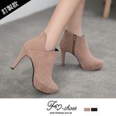 靴.氣質暖心絨V剪裁高跟踝靴-FM時尚美鞋-訂製款.fortune