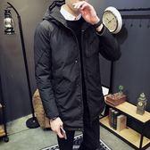 夾克外套-連帽純色中長版簡約百搭夾棉男外套2色73qa45[時尚巴黎]