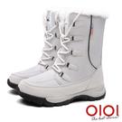 雪靴 雪之戀曲防潑水保暖中筒雪靴(淺灰) *0101shoes【18-1621gy】【現+預】