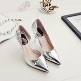 銀色高跟鞋女秋細跟尖頭性感夜店新款側空單鞋中跟顯瘦女鞋潮 居享優品