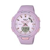 【CASIO 卡西歐】卡西歐Baby-G 藍芽多功能雙顯錶-紫(BSA-B100-4A2)