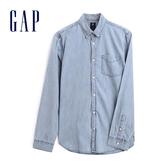 Gap 男裝 翻領長袖牛仔襯衫 497247-淡雅藍