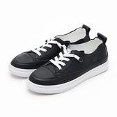 MICHELLE PARK 韓版小黑鞋 百搭簡約懶人鞋帶休閒鞋-黑