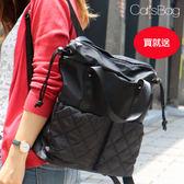 大容量束口造形菱格雙口袋二用防水後背包-Catsbag-242160605