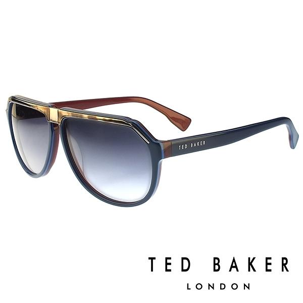 【南紡購物中心】TED BAKER 倫敦質感雅痞俏皮水滴型太陽眼鏡(星燦藍) TB1239625