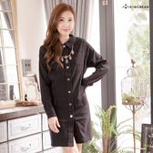 質感洋裝--專業時尚感開襟素面襯衫領排釦連身長袖洋裝(黑.紅L-3L)-A183眼圈熊中大尺碼