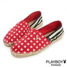 PLAYBOY 美式宣言~美國旗麻編懶人鞋-紅(女)